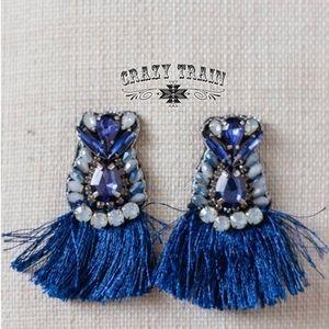 Crazy Train Bluebird Fringe Earrings